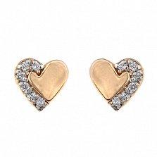 Золотые сережки-гвоздики Две половинки с фианитами
