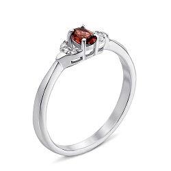 Серебряное кольцо с гранатом и фианитами 000132134