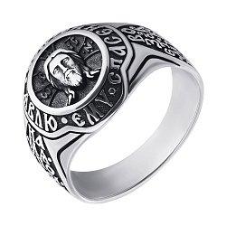Серебряное черненое кольцо Иисус с ликом и надписями
