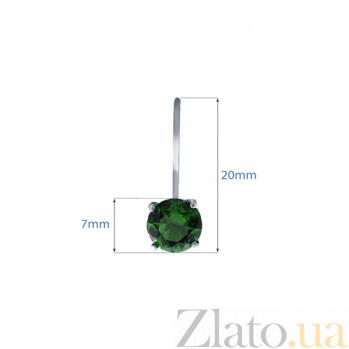 Серьги серебряные детские с зеленым цирконом Сказка AQA--220530083/7G