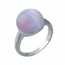 Серебряное кольцо Арника с розовым кошачьим глазом