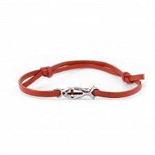 Кожаный браслет с серебром Ichthys Red с чернением