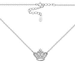 Серебряное колье с короной и фианитами в якорном плетении 000131649