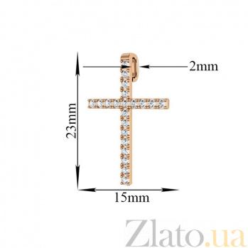 Крестик из красного золота Благодать с фианитами 000097300