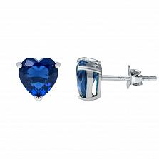 Серебряные пусеты с синим цирконием Сердце