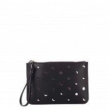 Кожаный клатч Genuine Leather 1536 черного цвета с перфорацией и короткой ручкой для запястья