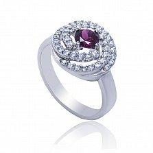 Серебряное кольцо Клубочек с родолитом и фианитами