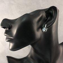 Серебряные серьги Ноэль с голубым топазом и черными фианитами