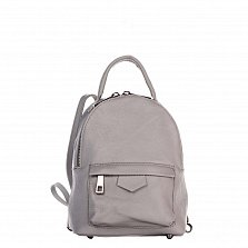 Кожаный рюкзак Genuine Leather 8002 серого цвета с накладным карманом на молнии