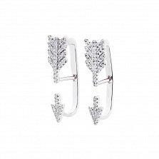 Серебряные серьги-джекеты Стрелы с фианитами