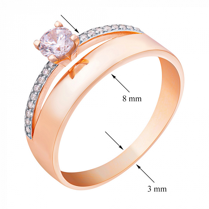 Золотое кольцо с фианитами Валетта 000008210