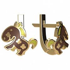 Золотые серьги Пони с эмалью