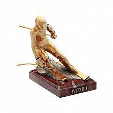 Бронзовая скульптура Горнолыжник с позолотой, серебрением и холодной эмалью на мраморной подставке