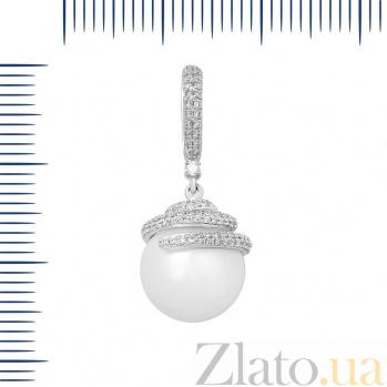 Кулон из белого золота Маджеста с жемчугом и бриллиантами 000097598