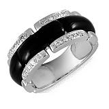 Кольцо из белого золота Мистирика с черным ониксом и бриллиантами
