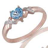 Кольцо из красного золота Триса с бриллиантами и топазом