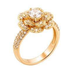 Золотое кольцо Волшебный цветок в желтом цвете с фианитами