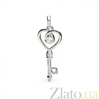 Кулон из белого золота с бриллиантами Ключ к сердцу SG--43421000
