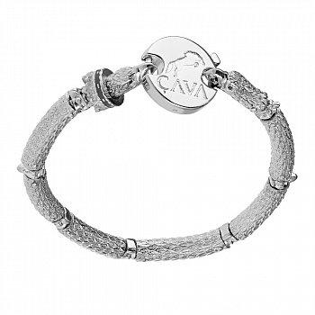 Серебряный браслет для шармов с чёрными фианитами 000035858