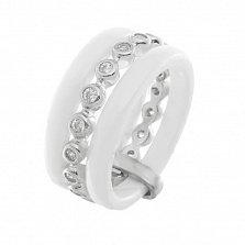 Тройное подвижное кольцо-антистресс Ника из белой керамики и серебра с фианитами