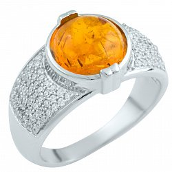 Серебряное кольцо Раджни с янтарем и фианитами