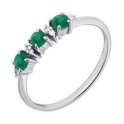 Серебряное кольцо с бриллиантами и изумрудами 000022179