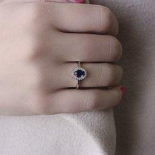 Серебряное кольцо Лия с наносапфиром и фианитами