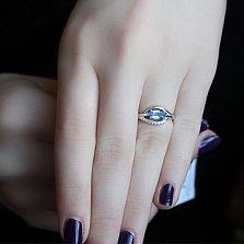 Серебряное кольцо Завирюха с кварцем цвета танзанит и фианитами