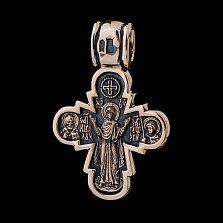 Золотой крестик Христос Заступник с чернением