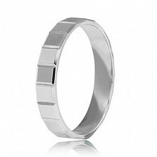 Обручальное кольцо из белого золота Квадрат