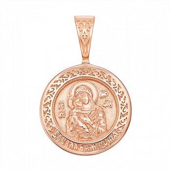 Ладанка из красного золота Божия Матерь Владимирская 000137780
