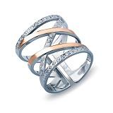 Серебряное кольцо Вестсайд с золотом и фианитами