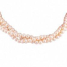 Ожерелье Мириам из трех нитей розового жемчуга с серебряным замком