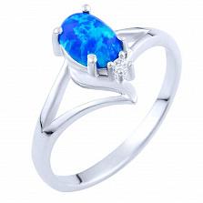 Серебряное кольцо Эльмира с опалом и цирконием