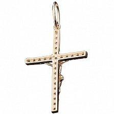 Золотой крестик Божественный Свет с фианитами