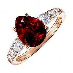Кольцо из красного золота с гранатом и цирконием 000123072