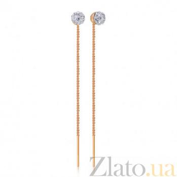 Золотые серьги-цепочки с камнями сваровски Шакира EDM--С044СВ