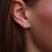 Серебряные серьги-пуссеты Плюмерия, покрытые белым родием