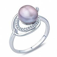 Серебряное кольцо с жемчугом и фианитами Мелина