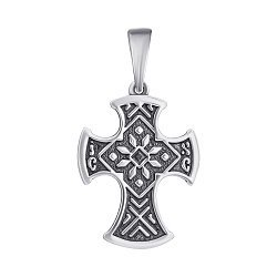 Серебряный узорный крест с чернением 000070693