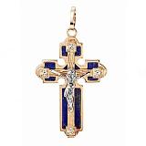 Золотой крест с лазуритом и цирконием Искренность
