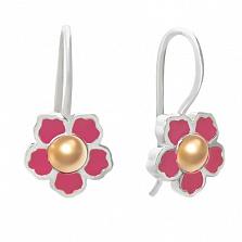 Серебряные серьги с эмалью и золотом Цветочек