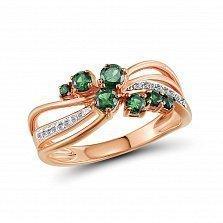Кольцо из красного золота Изабелла с бриллиантами и изумрудами