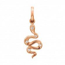 Кулон-змейка из красного золота с фианитами 000130906