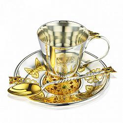 Серебряный набор посуды с позолотой и фианитами микс 000003892