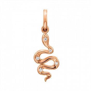Кулон-змійка з червоного золота з фіанітами 000130906