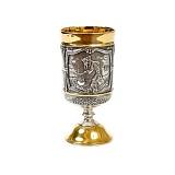 Серебряная рюмка с позолотой Казаки