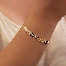 Серебряный браслет Альфа с золотыми накладками и дорожками фианитов