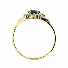 Кольцо из желтого золота с сапфиром и бриллиантами Иветта