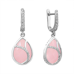 Серебряные серьги-подвески Аллегория с розовым кварцем и цирконием 000071227